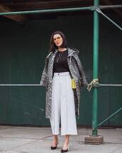 pants,wide-leg pants,cropped pants,pumps,slingbacks,black blouse,high waisted pants,coat,animal print,shoulder bag,sunglasses