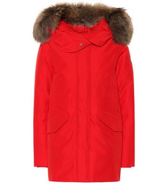 Woolrich Saranac fur-trimmed down parka in red