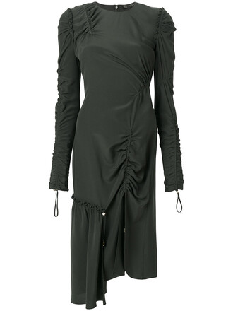 dress women drawstring silk green