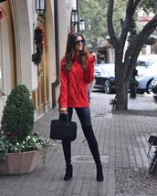 sweater,red sweater,black bag,black boots,knee high boots,leggings