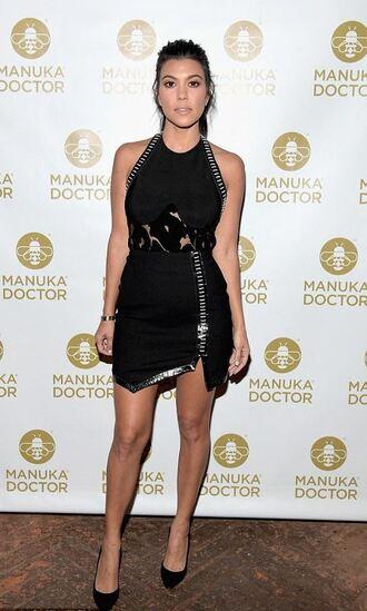 dress asymmetrical asymmetrical dress little black dress pumps mini dress kourtney kardashian kardashians skirt bodysuit top