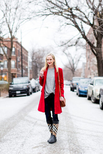 kelly in the city - a preppy chicago life style and fashion blog blogger coat top shoes jeans bag wellies red coat winter outfits