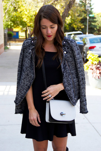 blogger jacket perfecto bag jewels sequins and stripes fall outfits