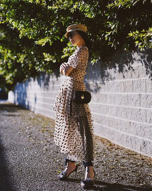 hallie daily blogger dress jeans shoes hat bag sunglasses jewels sandals long dress fall outfits