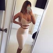 dress,bodycon,tight,2piece dress,nude,fashion,tumblr,beautiful,girl,white,black dress,bandage dress,tan,red,hot,sexy,sexy dress,beije,bodycon dress,strappy
