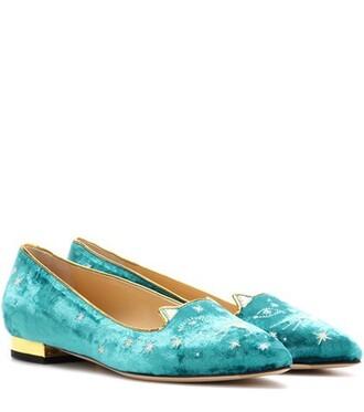 slippers velvet turquoise shoes