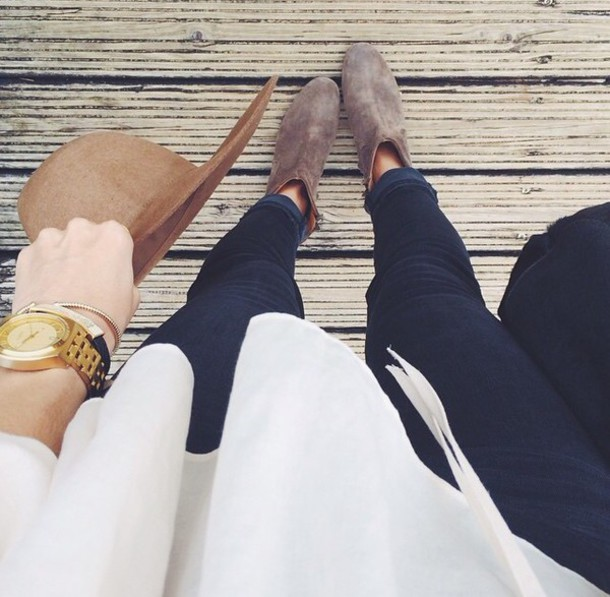 jewels jewelry watch gold watch jeans hat boots shoes winter shoe bracelets denim winter outfits outfit beige booties booties brown hat