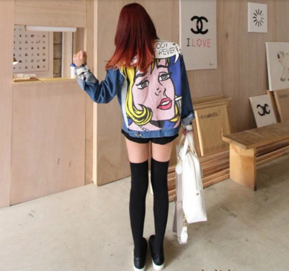 jacket denim jacket pin up colorful perfect