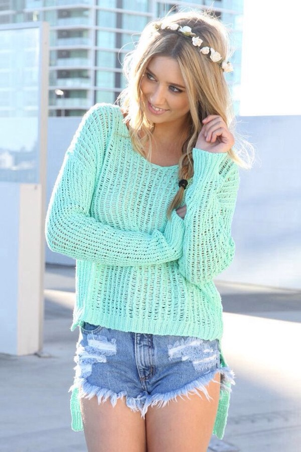hat flower crown seafoam green sweater shirt