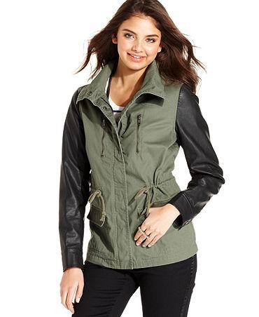 American Rag Juniors Jacket, Mixed-Media Military - Juniors Coats - Macy's