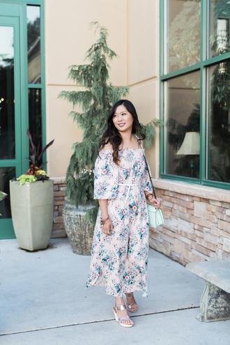 sandy a la mode blogger dress shoes jewels bag plus size plus size dress curvy off the shoulder floral maxi dress maxi dress floral