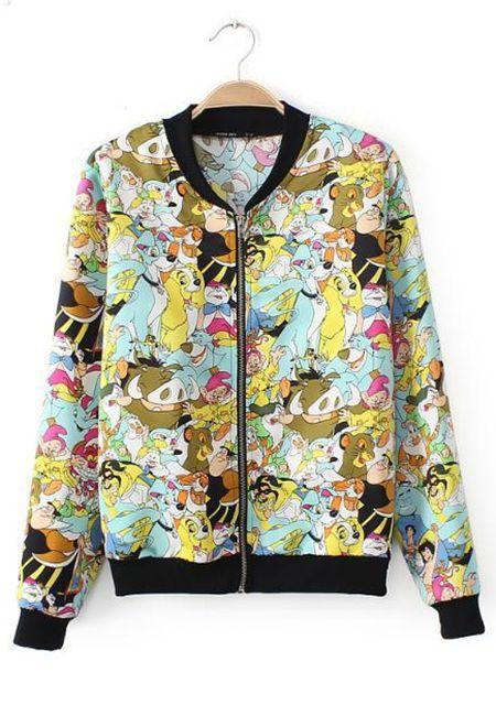Women's cute cartoon printing long sleeve short jacket online