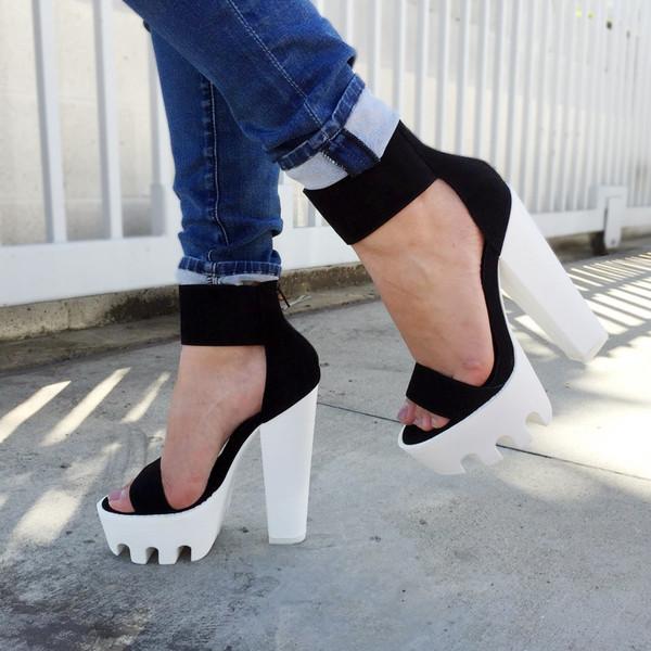 bd894844d0a shoes cicihot heels high heels lug sole black chunky heels boho chic girly  sexy.