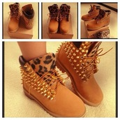 shoes,boots,leopard print,spikes,spiked shoes,timberlands,spiked booties,leopard timberlands,tan studded timberlands,sandy brown,blouse,timberland boots shoes,timberland boots studded,timberlands chettah prinyt
