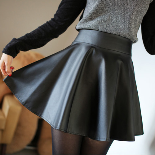 2014 new leather  female spring short  bust skirt high waist pleated plus size PU small leather skirt pleated skirt-inSkirts from Apparel & Accessories on Aliexpress.com