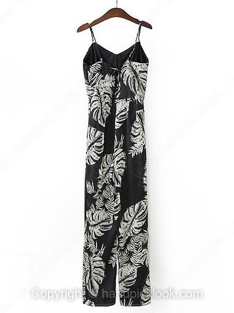 Black Spaghetti Strap Sleeveless Leaf Print Jumpsuit - HandpickLook.com