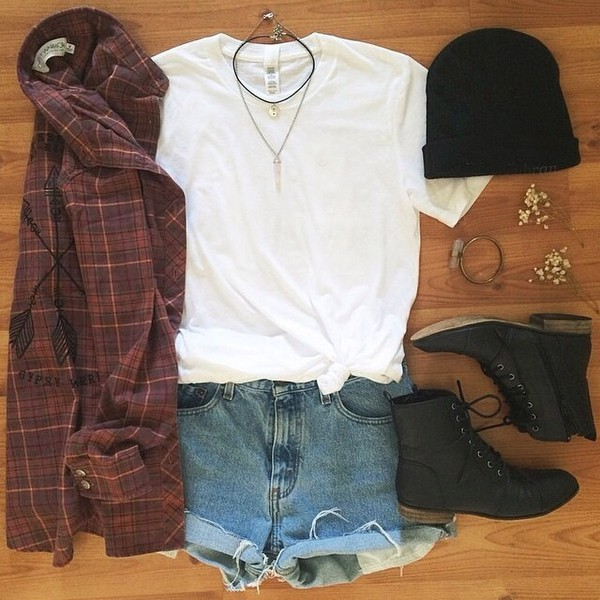 blouse t-shirt plaid plaid jacket beanie boots fashion jewels hat shorts shoes