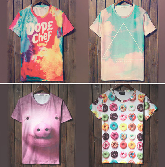 fashion vintage t-shirt shirt band t-shirt mens t-shirt shirt vogue triangle donut clouds