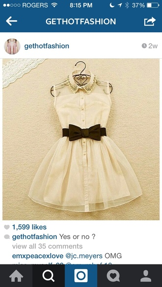 dress white studded collor dress best pretty black bow black and white white dress peter pan collar collared dress pretty dress! black dress black bow dress black and white dress