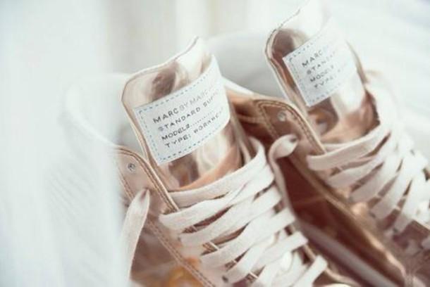 shoes gold high top sneakers sneakers platform sneakers