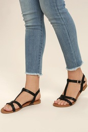 shoes,black sandals,black strappy sandals,ankle strap,flat sandals,cute sandals,black