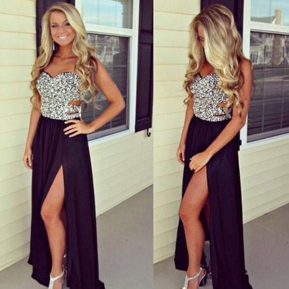 ball gown black evening dress black dresses black prom dress side split maxi dress