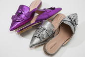shoes,alberta ferretti,crackled metallic leather mules,alberta ferretti crackled metallic leather mules