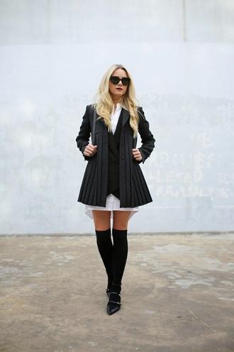 atlantic pacific blogger jacket bag back to school black coat shirt dress black sunglasses over the knee pointed flats flats