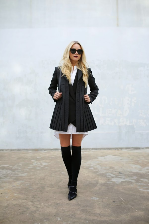 atlantic pacific blogger jacket bag back to school black coat shirt dress black sunglasses over the knee pointed flats flats