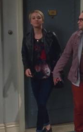 jacket,big bang theory,kaley cuoco,leather jacket,top