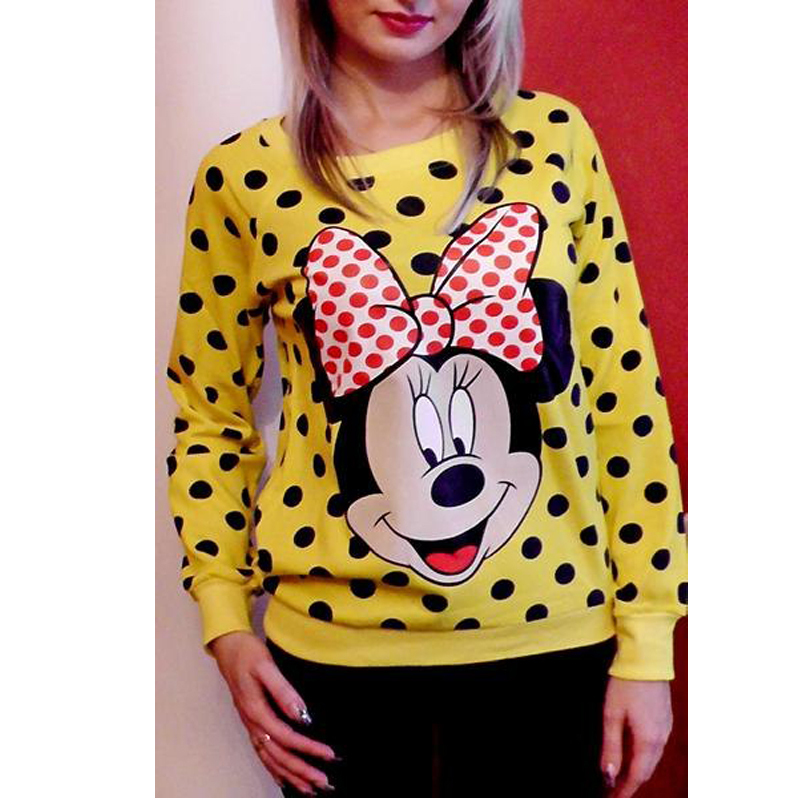 2015 Women Sweatshirts 3d Pull Cartoon Mini Minnie Mouse Sweats