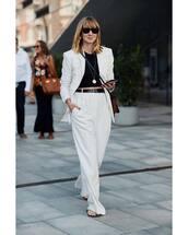 pants,wide-leg pants,white pants,white blazer,crop tops,belt,slide shoes,sunglasses,crossbody bag