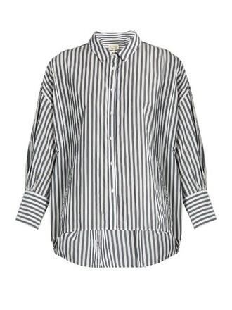 blouse cotton white blue top