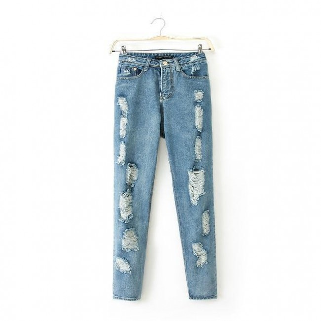 Cut Out Holes Jeans