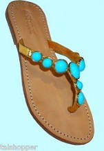 $150 7 Mystique Turquoise Polished Stone Gold Leather Thong Sandals 3155