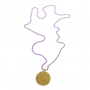 Faistos Pendant with Purple Chain - Necklaces - Jewellery