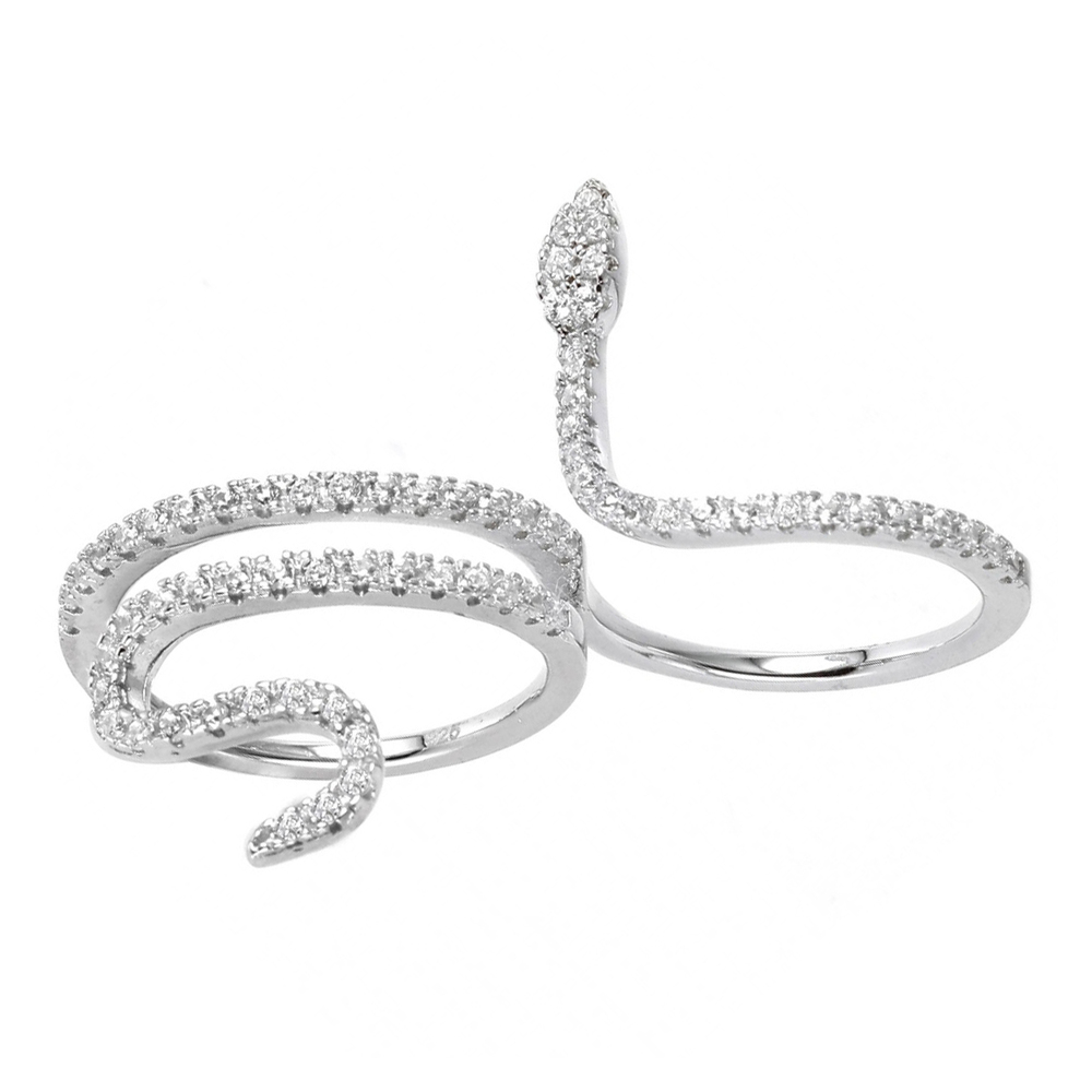 Sterling silver crystal snake double ring