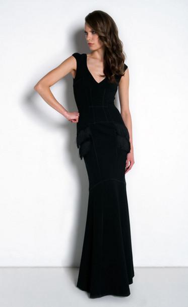 dress scuba gown black fringes v neck model floor length
