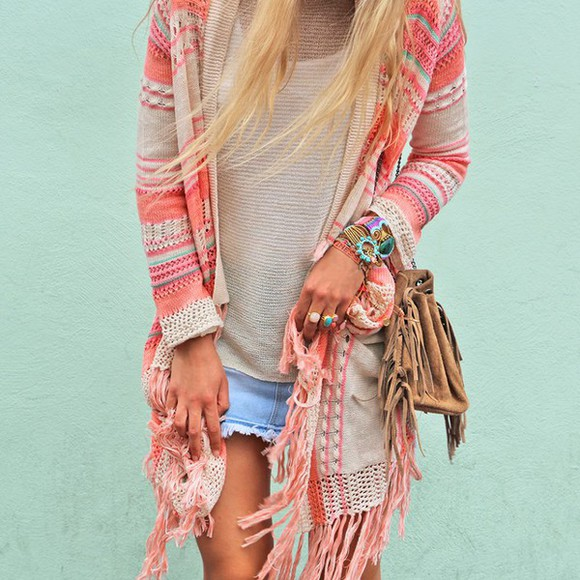 cardigan boho hippie coachella boho chic gypsy pale girly indie rosy corall strick tied knots aztec muster like coachella style boho jacket boho sweater hippie style jewels cloths ibiza style bag fringed bag blouse cardigans, aztek, sweaters,black and white ring skirt bracelets