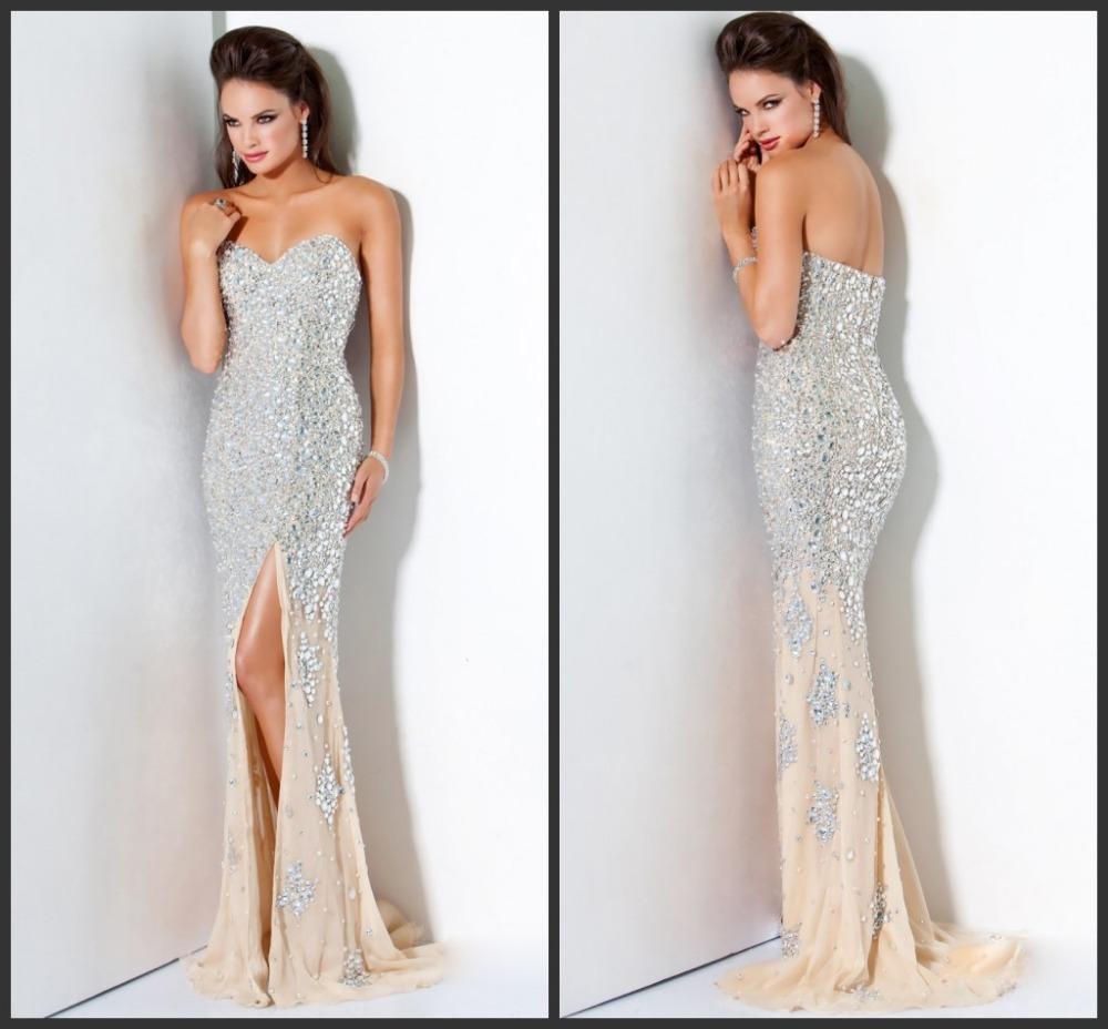 Aliexpress.com : Buy Designer Luxury Heavy Rhinestone Beaded Sweetheart Slit Champagne Mermaid Prom Dress Evening Party Gowns 2014Free Shipping from Reliable dress shirt tie jeans suppliers on AngelLover Weddings&Events Dresses Co.,Ltd.
