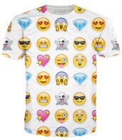 t-shirt,emoji print,happy,sad,heart,ghost,scared,diamonds,heart eyes,white,yellow,faces,shoscked,unisex,smiley,shirt,white t-shirt,phone cover,emoji case,make-up,beauty hacks,eye makeup,eye shadow