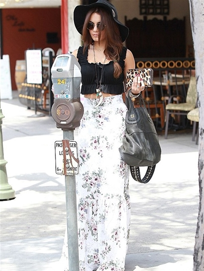 For Love & Lemons Holy Skirt in Ivory Floral as seen on Vanessa Hudgens