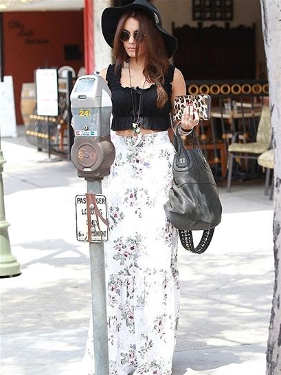 For Love & Lemons Holy Skirt in Ivory Floral as seen on Vanessa Hudgens