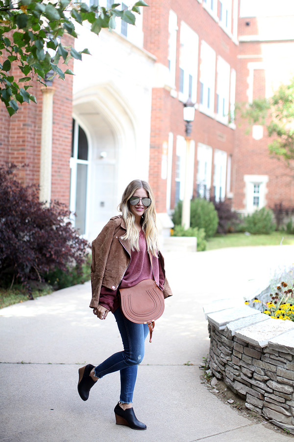 9de9f3d0e0 blonde bedhead blogger sweater jeans hat shoes bag suede jacket skinny jeans  fall outfits.