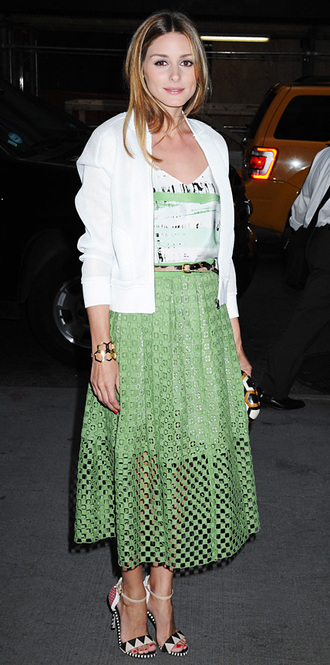 skirt olivia palermo green white jacket high heels top shoes eyelet skirt midi skirt green skirt printed top white jacket sandals sandal heels high heel sandals