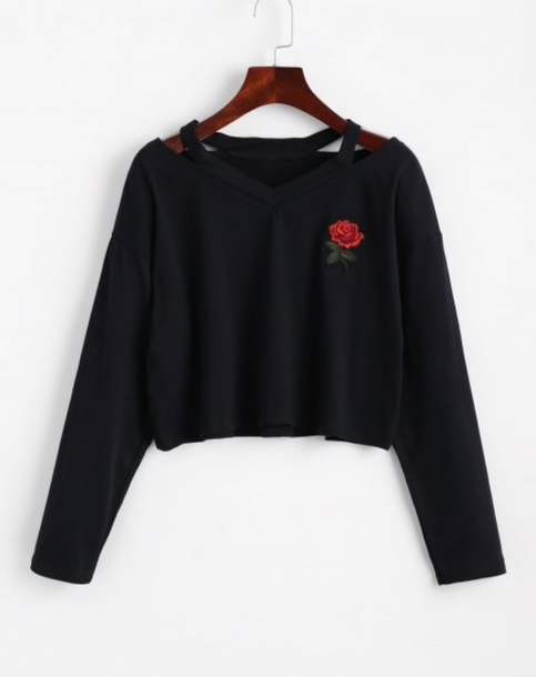 sweater embroidered girly black crop tops crop cropped cropped sweater rose
