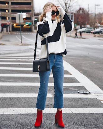 sweater tumblr stripes striped sweater denim jeans blue jeans cropped jeans boots red boots ankle boots bag black bag sunglasses