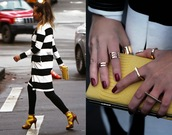 different cands,blogger,coat,knuckle ring,clutch,strappy sandals,stripes