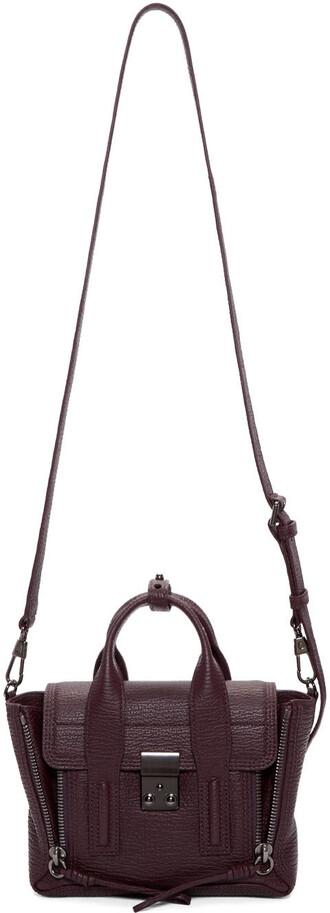 satchel mini burgundy bag