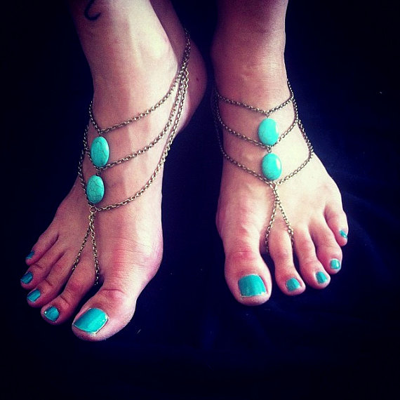 Antique bronze and howlite Turquoise oval beads Barefoot Sandals Hippie Beach wedding foot jewelry slave Anklets designed by Inali